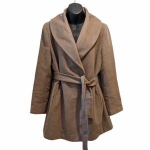 Calvin Klein Wool blend belted wrap coat medium